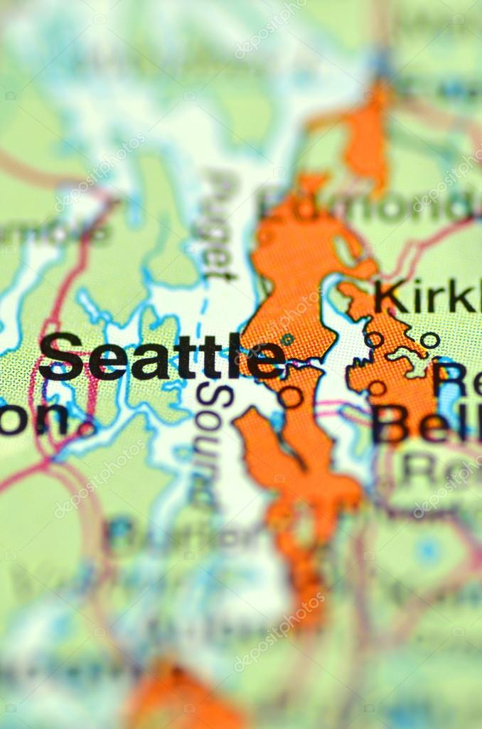A Closeup Of Seattle Washington In The Usa On A Map Stock