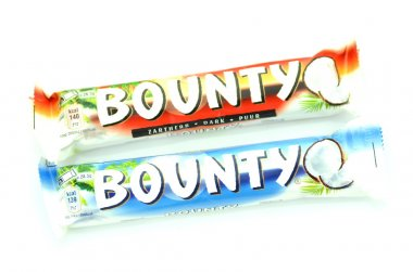 Bounty coconut chocolate bars isolated on white background