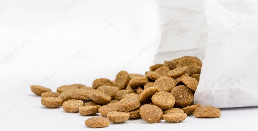 Dog food with paper bag