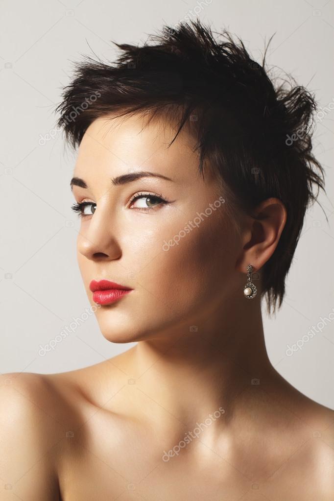 Young Girl With Short Hair Stock Photo C Olesemenova 37647583