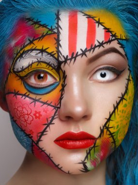 Close up color women face art
