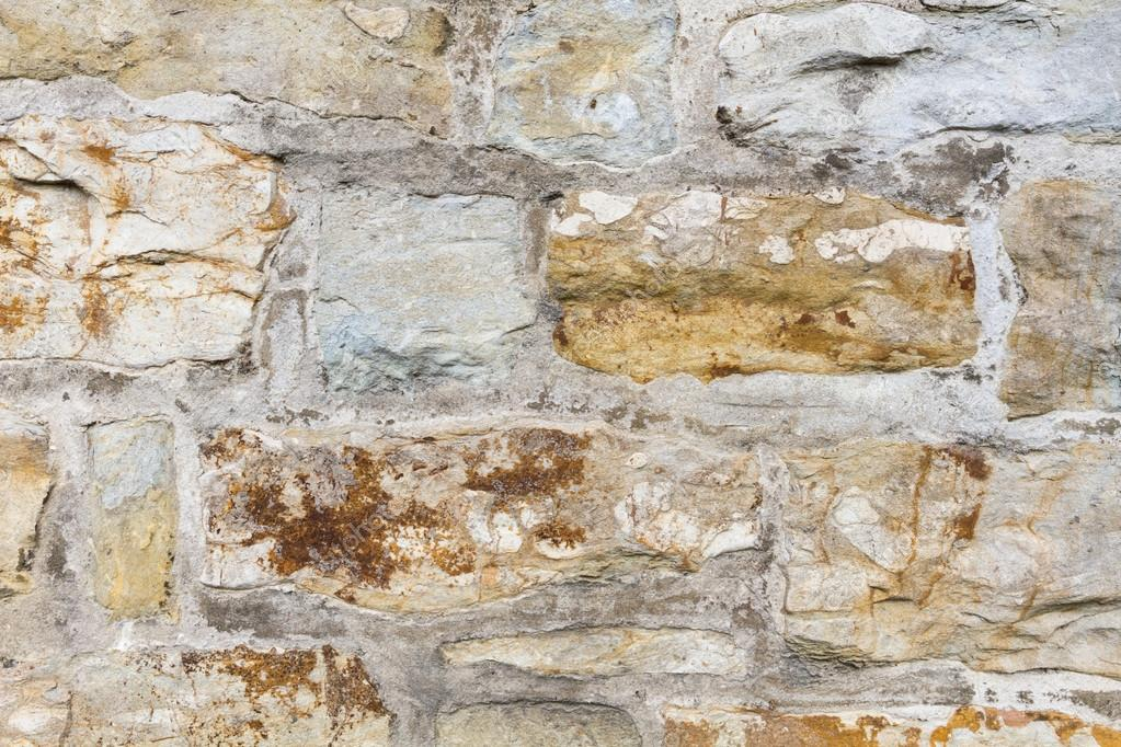 Stone Wall Outside With Yellow Stones And Cement U2014 Stock Photo