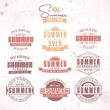 Set of summer sales related vintage labels