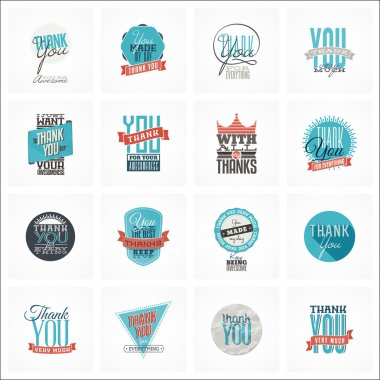 Collection of 16 vintage Thank You card designs. Well structured vector file with each card template on separate layer. clip art vector