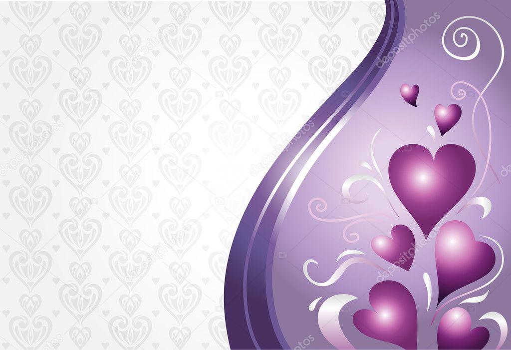 Valentine Birthday Card Background In Pink Violet Stock Vector