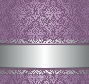Violet & silver vintage wallpaper