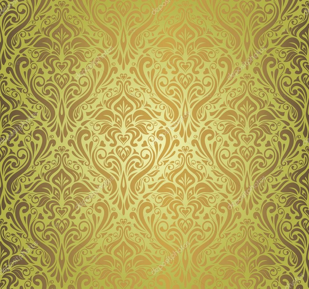 Dise o de papel pintado vintage verde y marr n vector de for Papel pintado marron