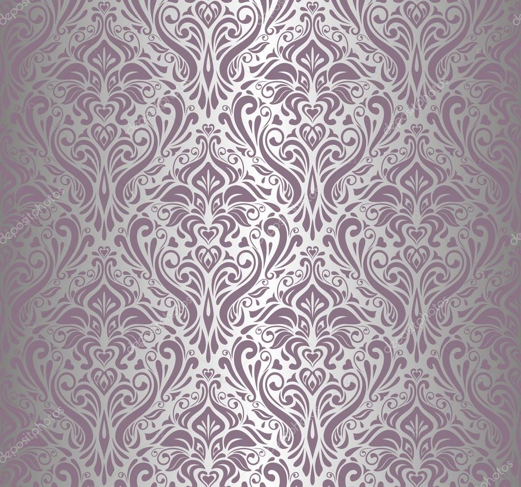 Papel pintado vintage violeta y plata vector de stock - Papel pintado blanco y plata ...