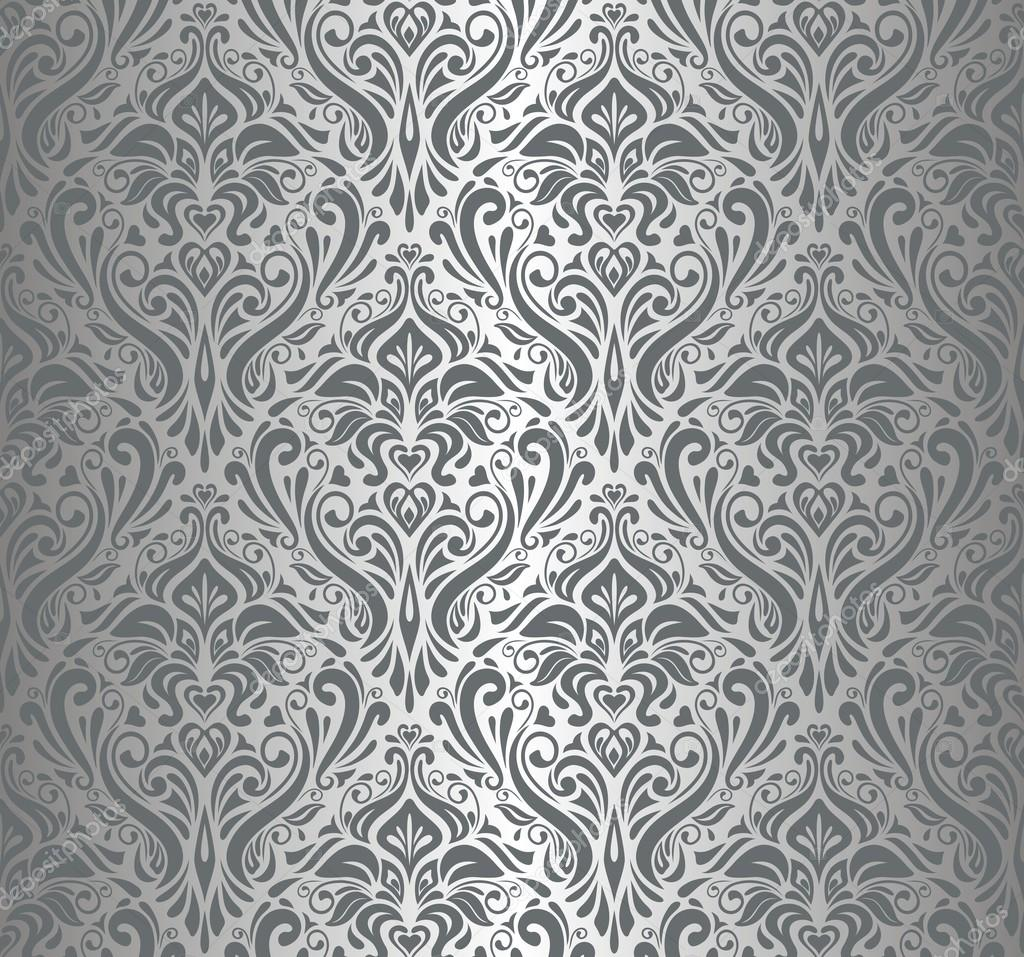 Silver luxury vintage wallpaper stock vector erinvilar - Papel paredes vintage ...
