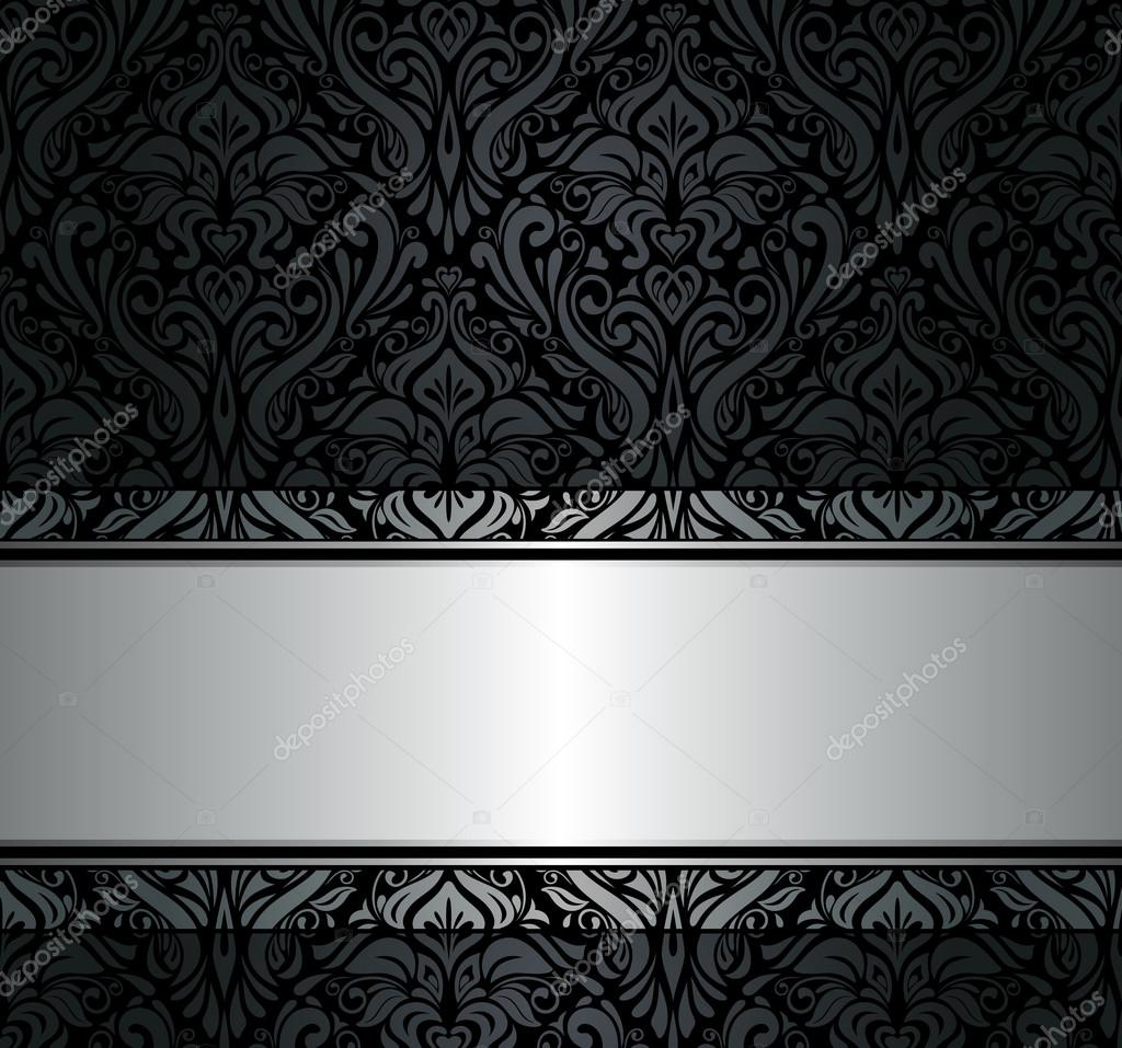 Schwarz Und Silber Vintage Tapete Stockvektor C Erinvilar 24122435