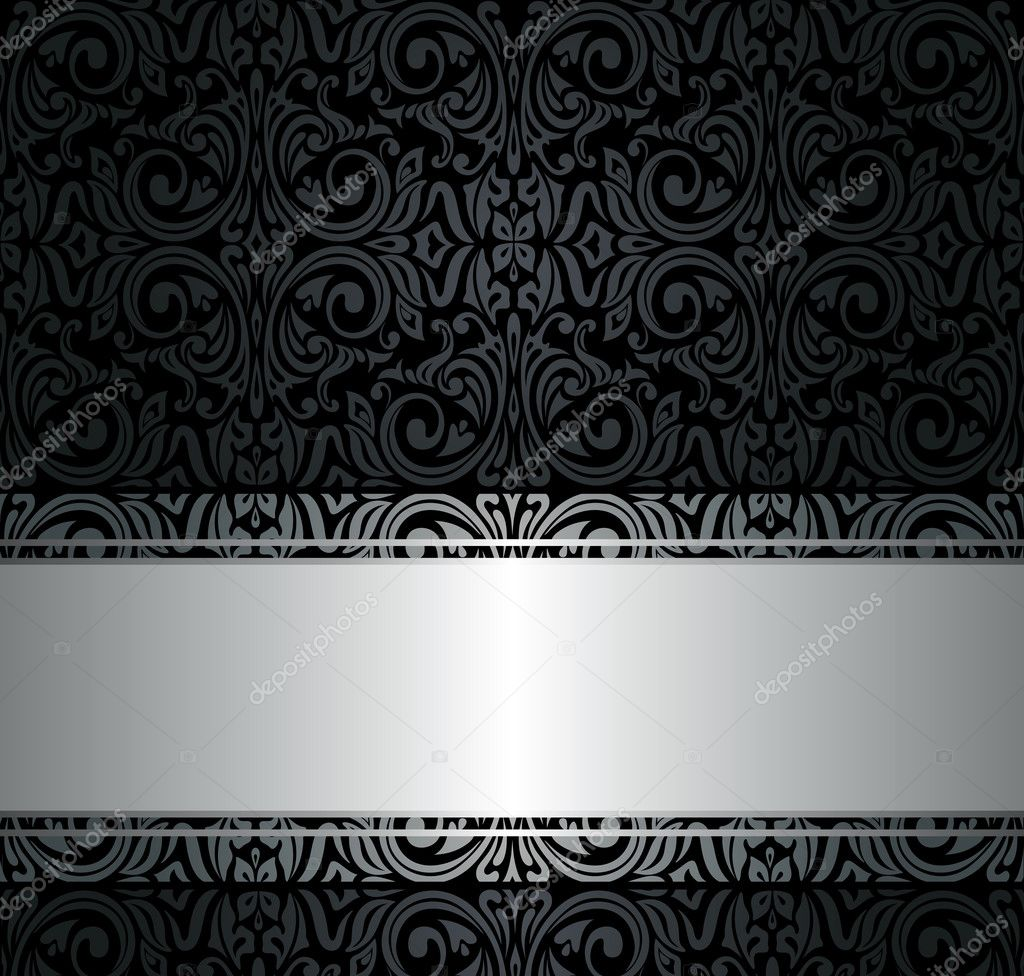 Black and silver vintage wallpaper stock vector for Black and silver wallpaper