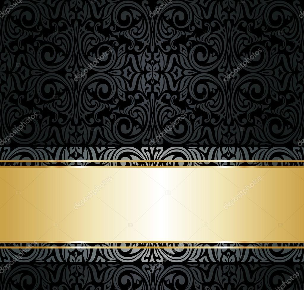 Papel de parede vintage preto e dourado vetores de stock for Papel de pared dorado