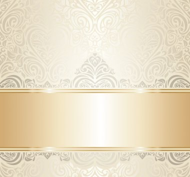 White & gold vintage invitation luxury background design