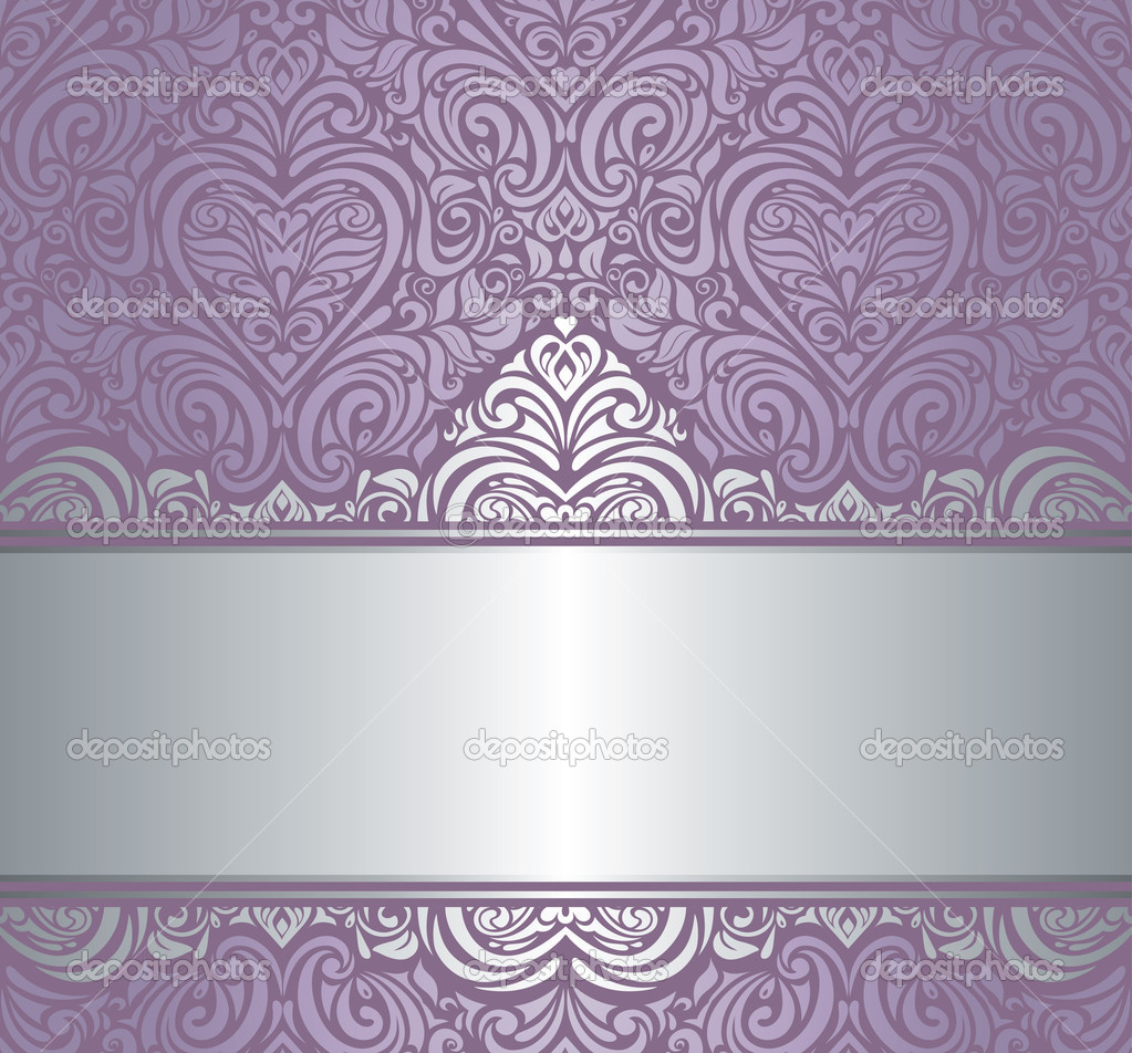 Silver Amp Violet Luxury Vintage Invitation Background