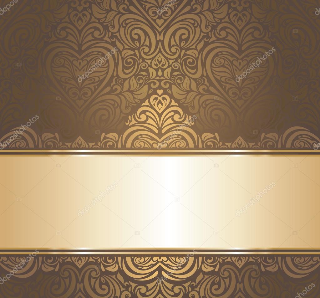 Braun U0026 Gold Vintage Dekorative Tapete Design U2014 Vektor Von Erinvilar
