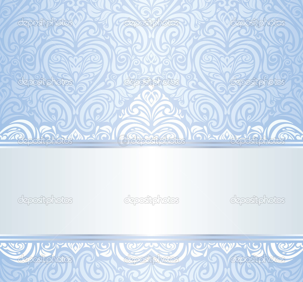 Blue Vintage Invitation Floral Wallpaper Background Stock Vector