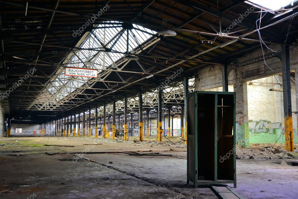 abandoned factory building and an old cupboard