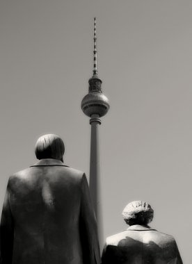 Karl Marx and Friedrich Engels and the television tower in Berlin