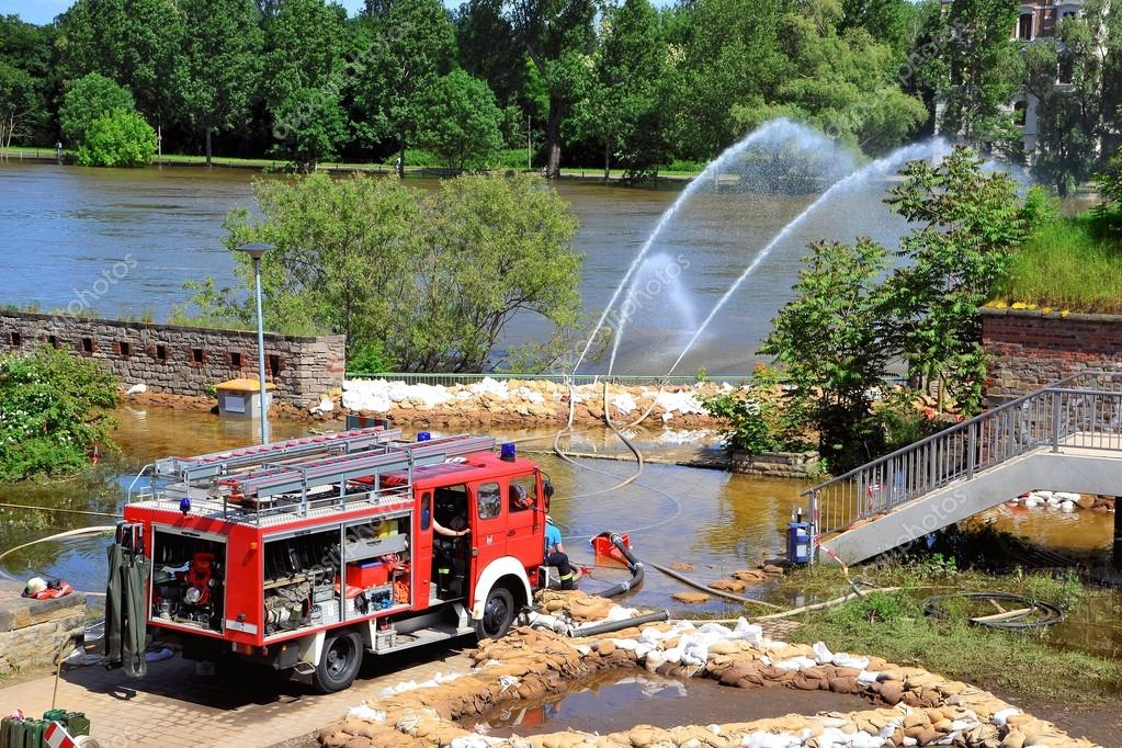 Firefighters in action during high water in Magdeburg