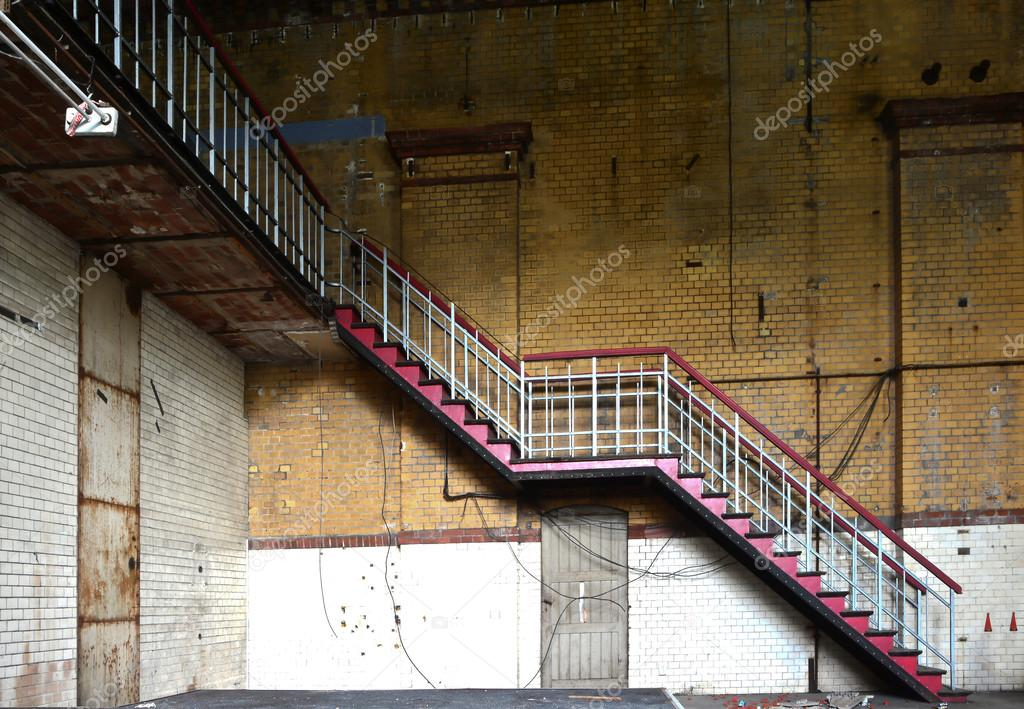Staircase in an abandoned factory
