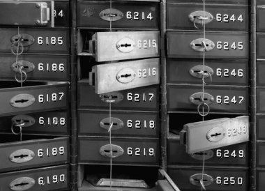 Deposit boxes of a bank