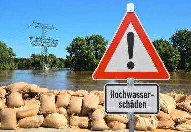 Sandbags and a warning sign