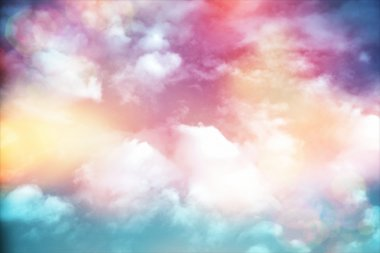 Colorful Clouds With Lens Flare