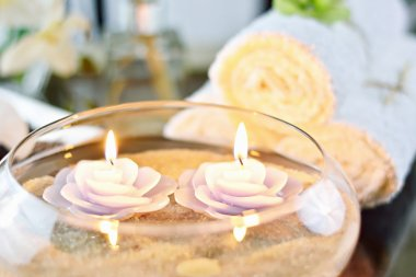 Spa Candles & White Towels