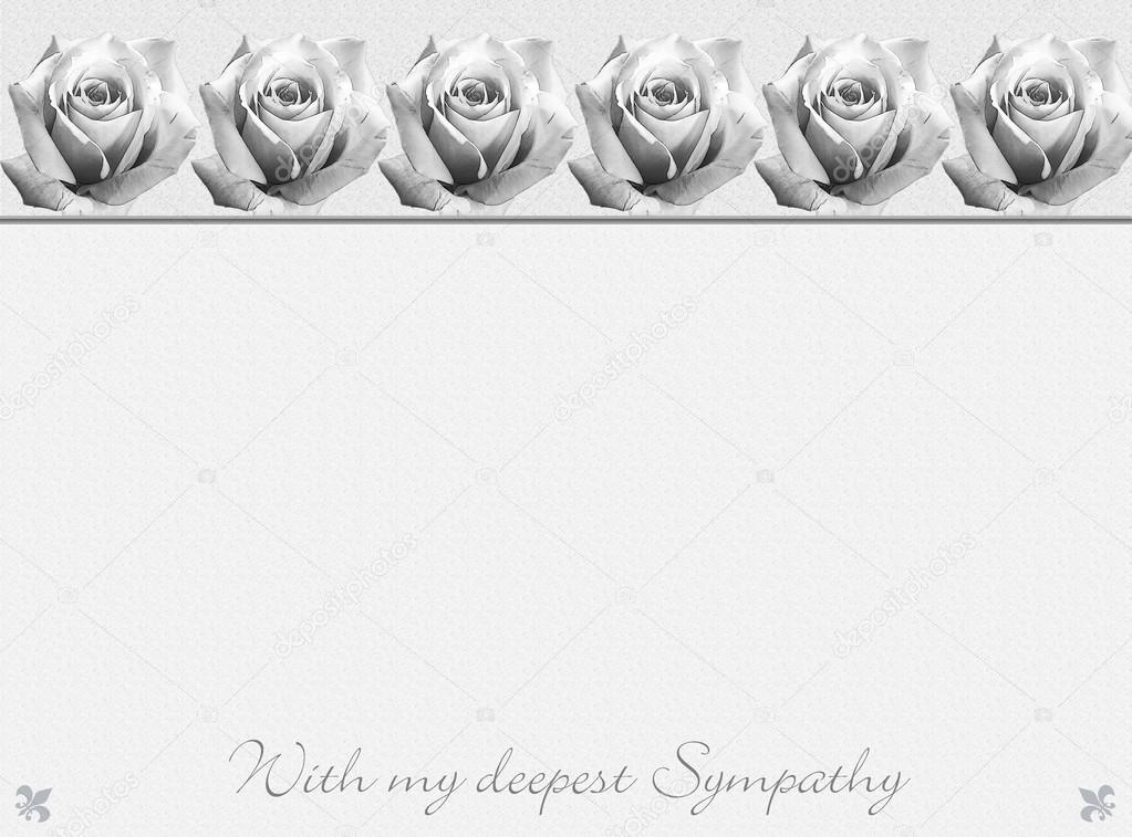 sympathy card design with ornamental rose border in black and white stock photo