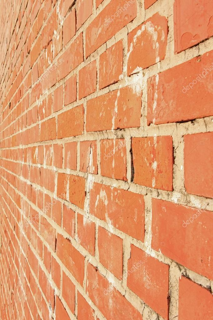 Side View Of A Red Brick Wall Architectural Background Stock Photo
