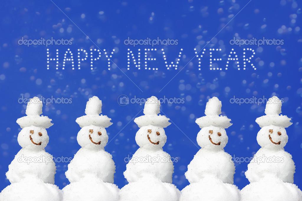 Weihnachten und Neujahr message, fünf lächelnd Schneemänner wieder ...