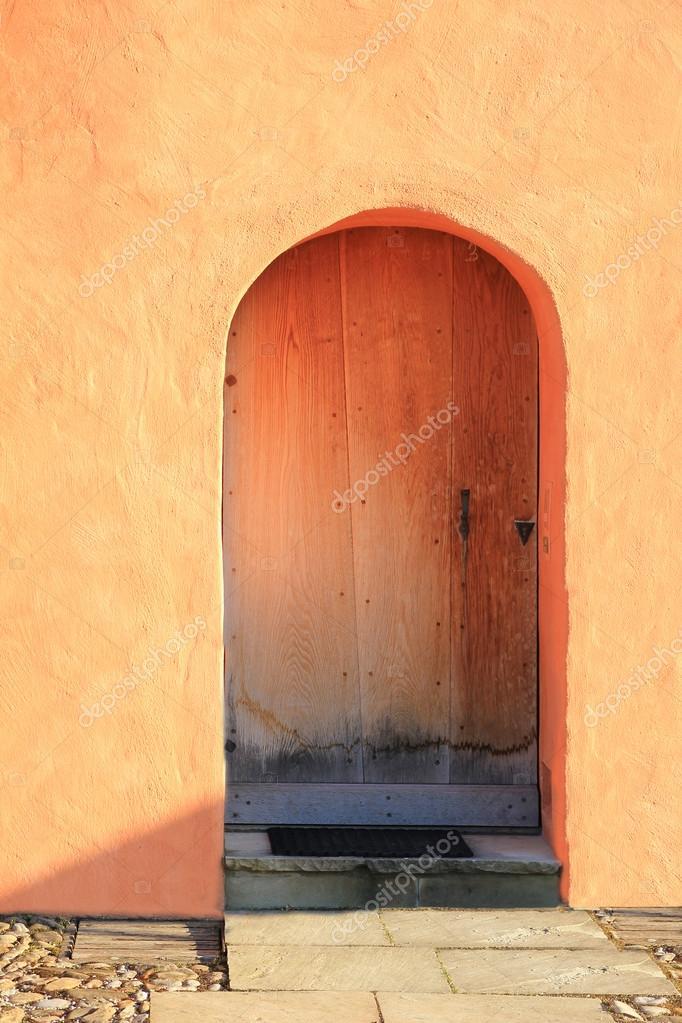 Geschlossene Tür, Mediterranen Stil Mit Terracotta Farbig Verputzen U2014 Foto  Von SusaZoom