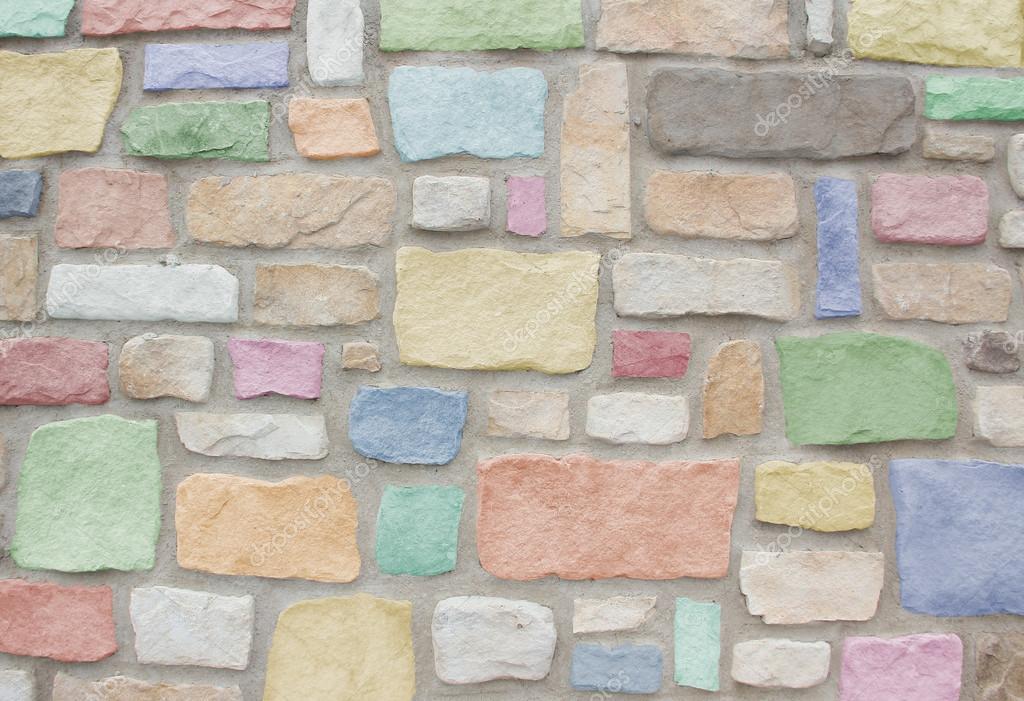 Pared de piedra natural de la arena en colores pastel - Piedra natural pared ...