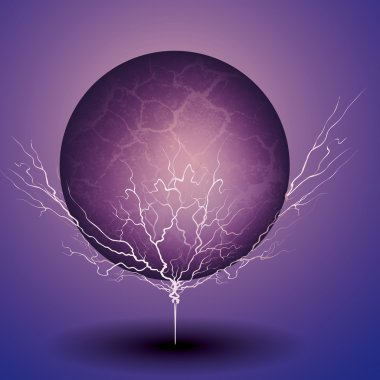 Purple transparent ball with lightning bolts