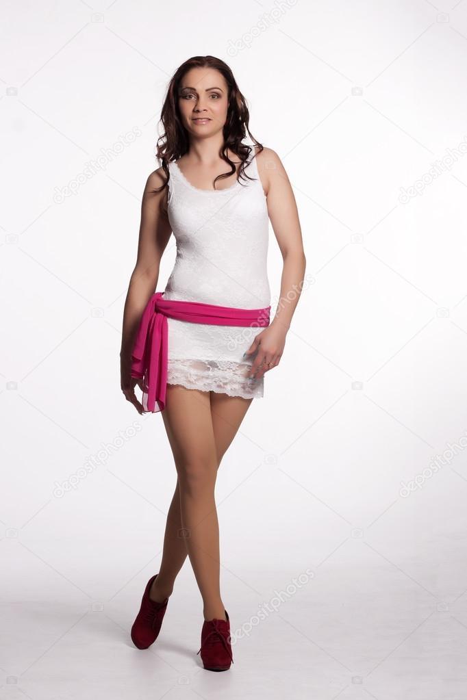 Vestido blanco y rosa mujer