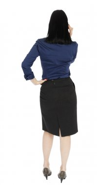 Business Woman Talking on the Phone - Rear View