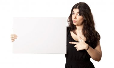 Isolated Surprised Woman Pointing at Sign