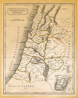 Ancient Palestine Map Printed 1845