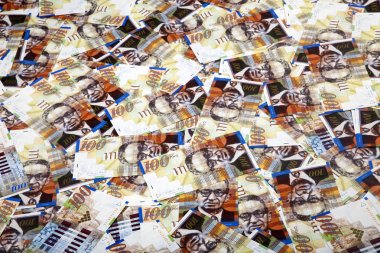 One Hundred Shekels Bills Messy Background