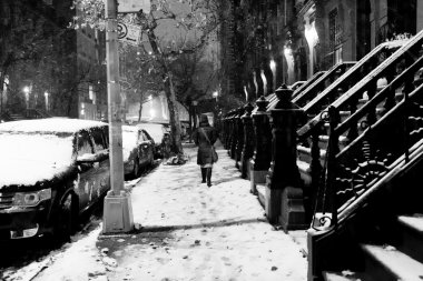 Anonymous Woman in Snow Storm at Harlem Manhattan New-York