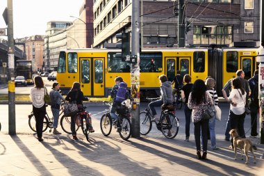 Pedestrians Waiting for Green Light at Alexanderplatz