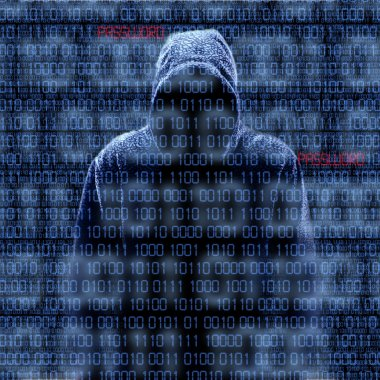 Silhouette of a hacker isloated on black with binary codes on background stock vector