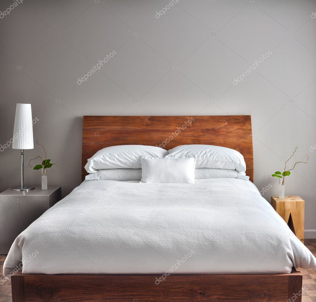 Beautiful Clean And Modern Bedroom Stock Photo Aetb