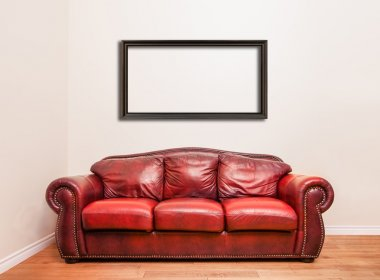 Luxurious Red Leather Couch in front of a blank wall