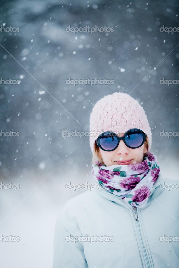Happy Cute Woman Enjoying Winter
