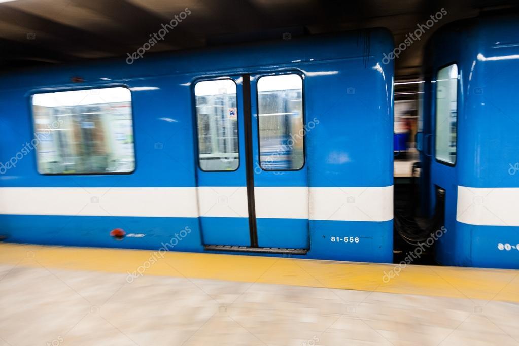 Montreal Metro Train with Motion Blur — Stock Photo © aetb