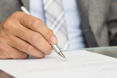 Male hand finger senior pen paper sign stock vector