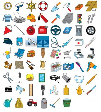 Set of various professional icons clip art vector