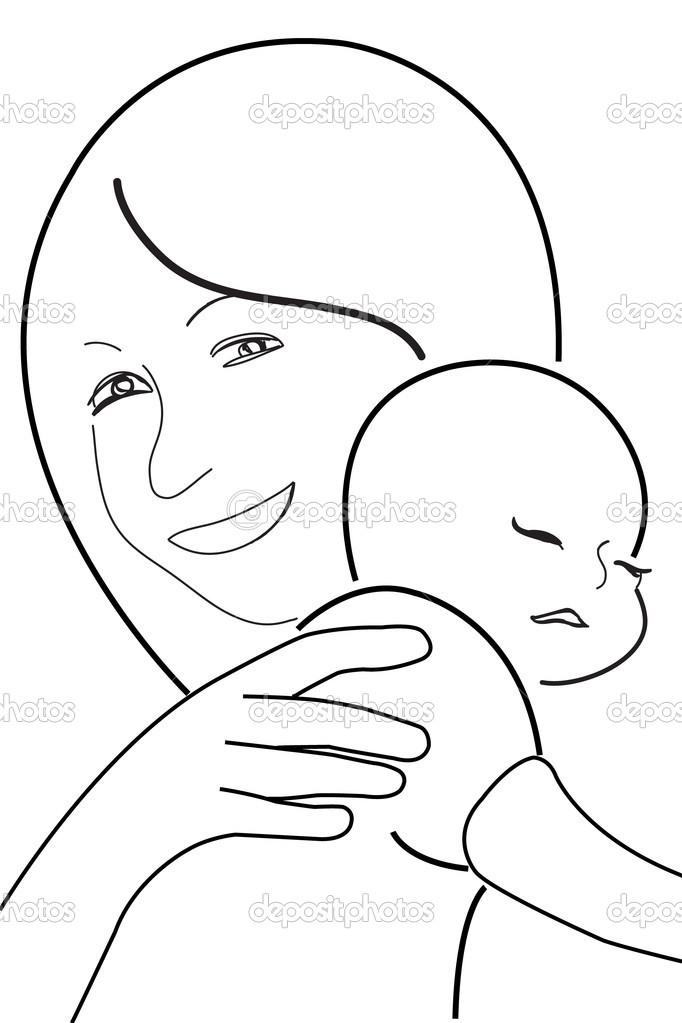 Imágenes Negras Para Dibujar Madre E Hijo Dibujo De Líneas