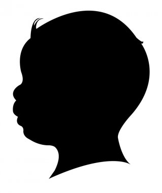 A baby boy head silhouette, vector